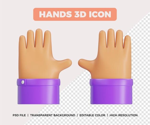 3d gesto de cinco mãos