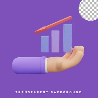 3d gesto de mão ilustração para baixo gráfico gráfico ícone ativos de alta qualidade