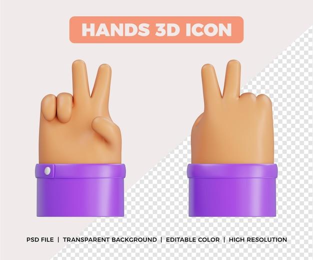 3d gesto de paz com as mãos