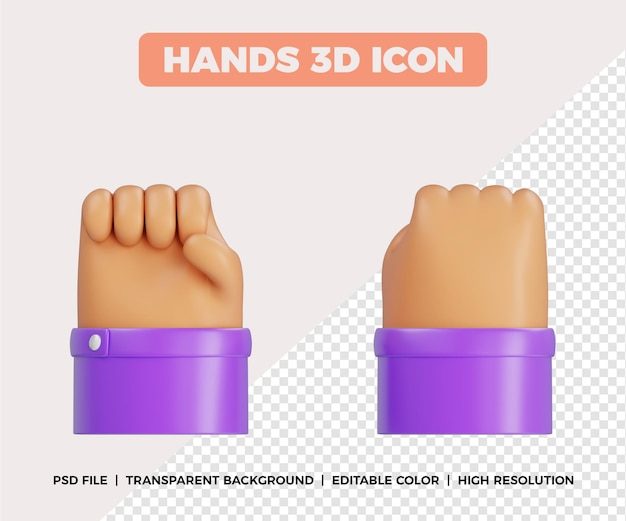 3d gesto de punho com as mãos