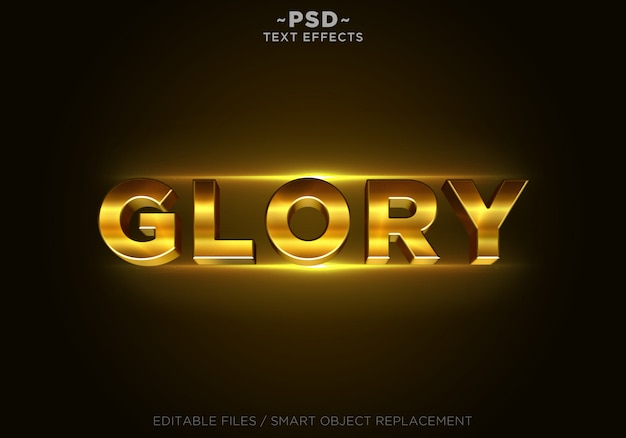 3d glory gold effects template texto