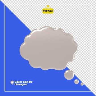 3d glossy thought bubble rendering isolado