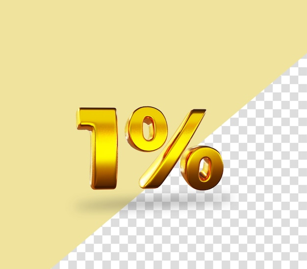 3d gold número 1% de desconto na renderização de texto