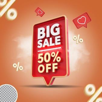 3d grande venda 50 por cento da oferta de renderização criativa