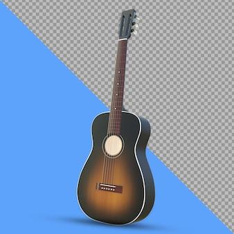 3d guitarra acústica vista inclinada renderização isolada