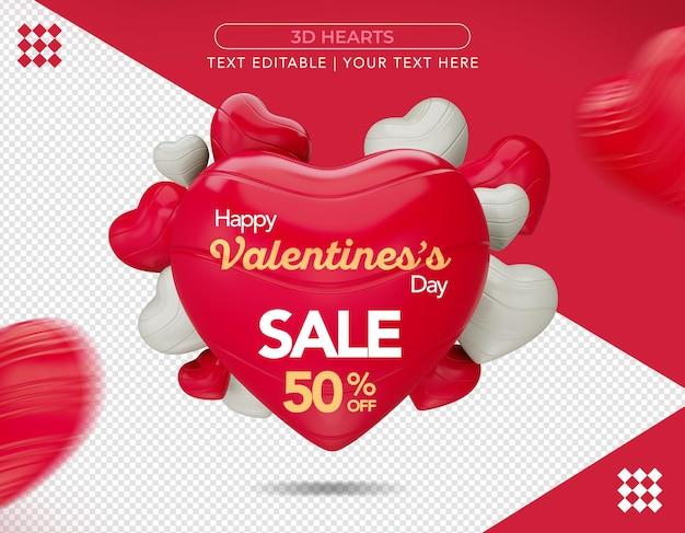 3d hearts promocional em renderização 3d isolada