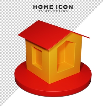 3d home icon alpha background psd