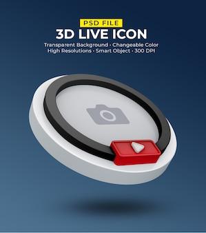 3d ícone de mídia social em streaming ao vivo