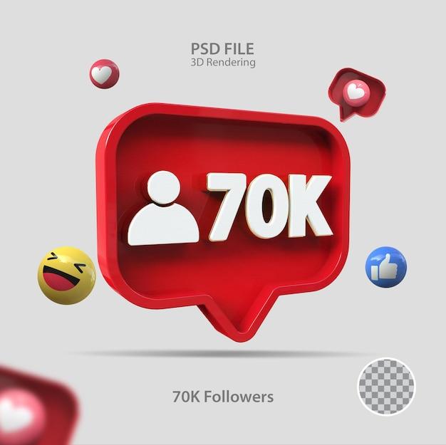 3d ícone instagram 70k seguidores renderizar