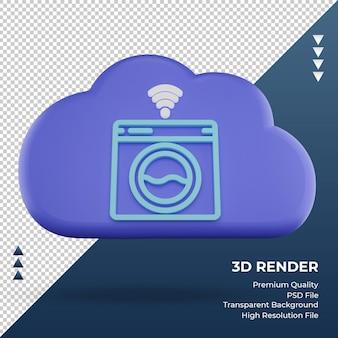 3d ícone internet nuvem máquina de lavar roupa sinal renderização vista frontal