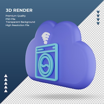 3d ícone internet nuvem máquina de lavar roupa sinal renderizando vista direita