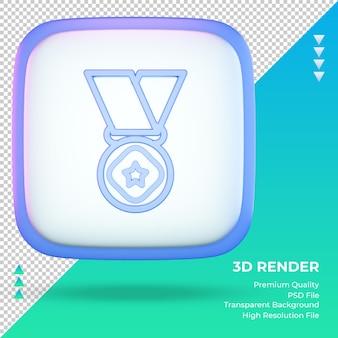 3d ícone universidade sinal de medalha renderização vista frontal