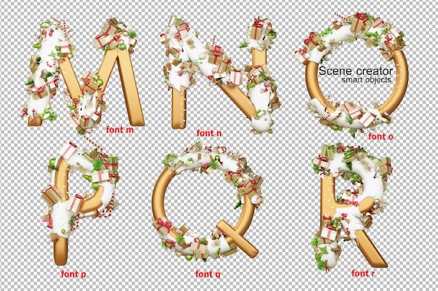 3d ilustração alfabeto dia de natal