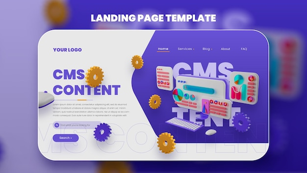 3d ilustração cms web template premium psd