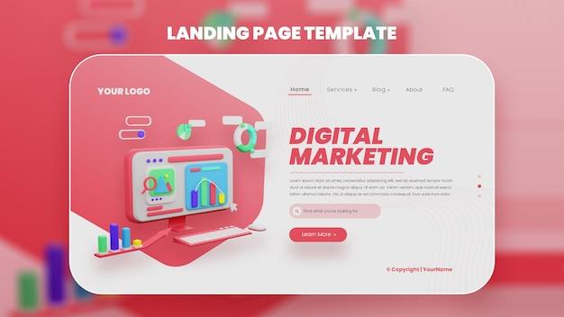 3d ilustração digital merketing web template premium psd