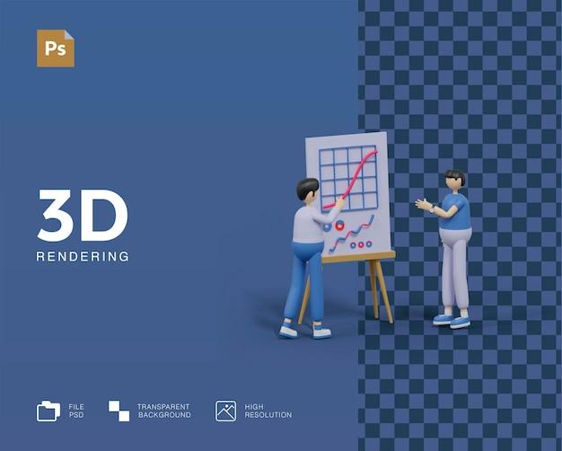 3d ilustração reunião analista de dados