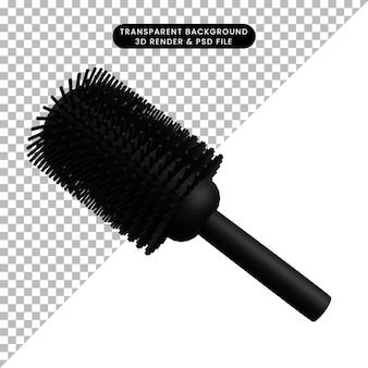 3d ilustração simples ícone beleza objeto cabelo rolo pente