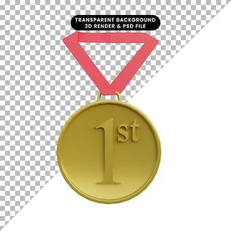 3d ilustração simples objeto 1ª medalhas