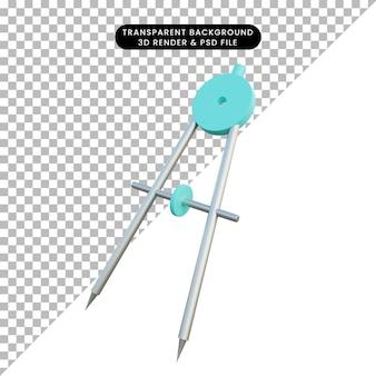 3d ilustração simples objeto termo papelaria orleon