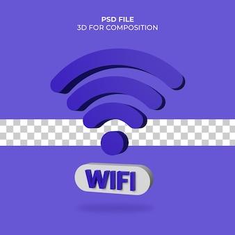 3d ilustração wi-fi ícone premium psd
