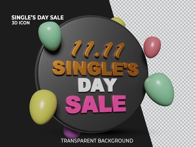 3d isolado 11 11 ícone transparente de venda no dia único