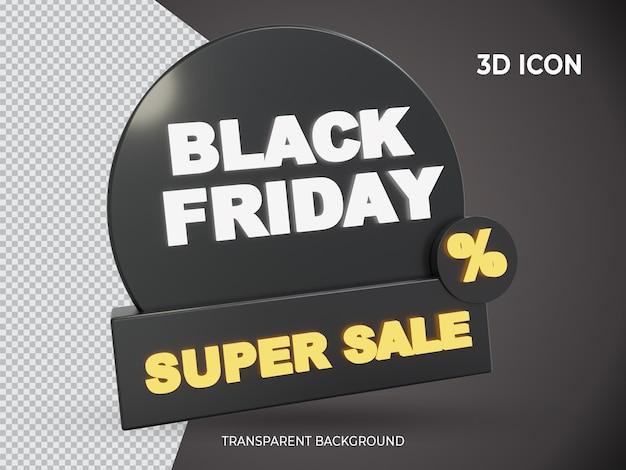 3d isolado ícone transparente de super venda de sexta-feira negra