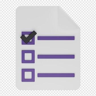 3d isolado render da lista de tarefas documen ícone psd