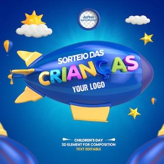 3d label childrens day draw no dirigível brazil design i portuguese
