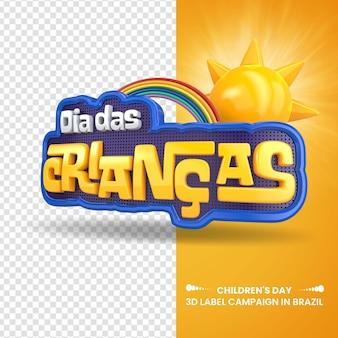3d label dia das crianças com sol e arco-íris para campanhas no brasil design em português