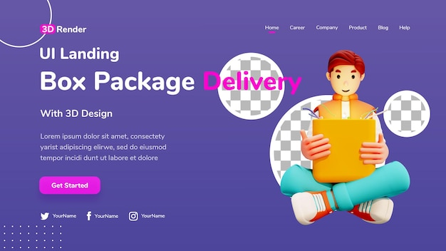 3d landing page template concept ilustração masculina de caixa de entrega aberta