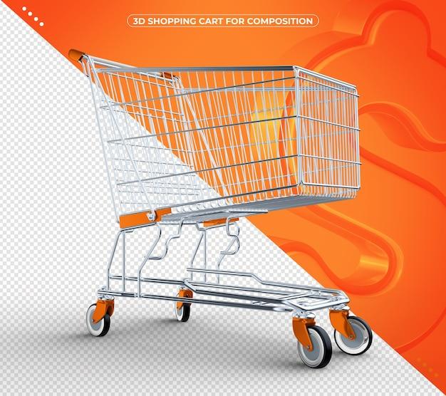 3d laranja isolado carrinho de compras isolado