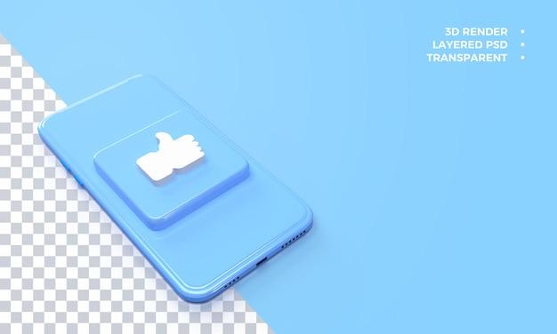 3d like logo no topo da renderização do smartphone