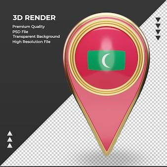 3d localização bandeira maldivas renderização vista frontal