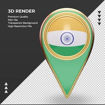 3d localização da bandeira da índia com renderização vista frontal