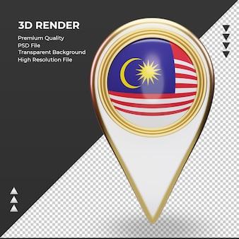 3d localização da bandeira da malásia com renderização vista frontal
