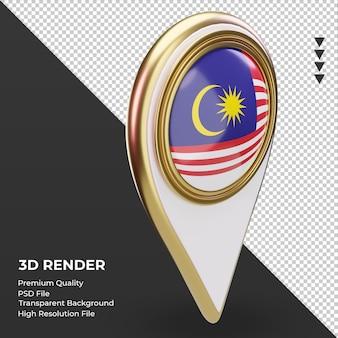 3d localização da bandeira da malásia renderizando a vista esquerda