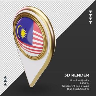 3d localização da bandeira da malásia renderizando vista direita