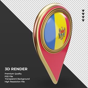 3d localização da bandeira da moldávia renderizando vista esquerda