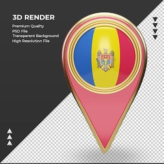 3d localização da bandeira da moldávia renderizando vista frontal