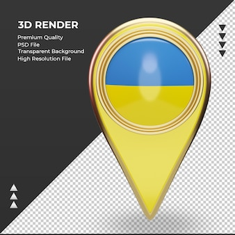 3d localização da bandeira da ucrânia com renderização vista frontal