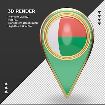 3d localização da bandeira de madagascar com renderização vista frontal