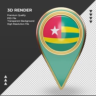 3d localização da bandeira do togo com renderização vista frontal