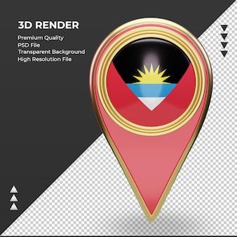 3d localização do pino da bandeira de antígua e barbuda renderizando vista frontal