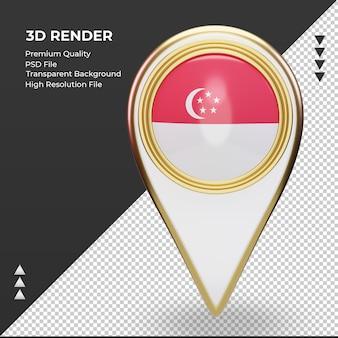 3d localização do pino da bandeira de cingapura, renderizando a vista frontal