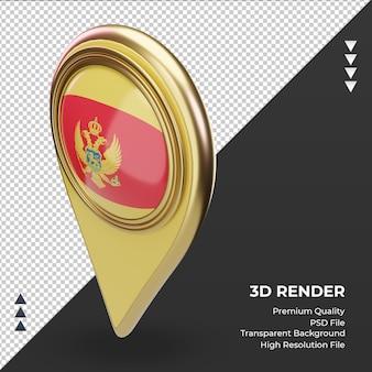 3d localização do pino da bandeira de montenegro renderizando a vista correta