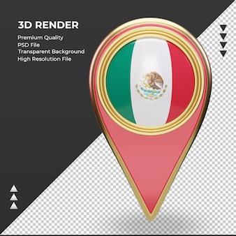 3d localização do pino da bandeira do méxico, renderizando a vista frontal