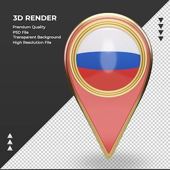 3d localização pino da bandeira russa renderização vista frontal Psd Premium