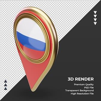 3d localização pino da bandeira russa renderizando vista direita