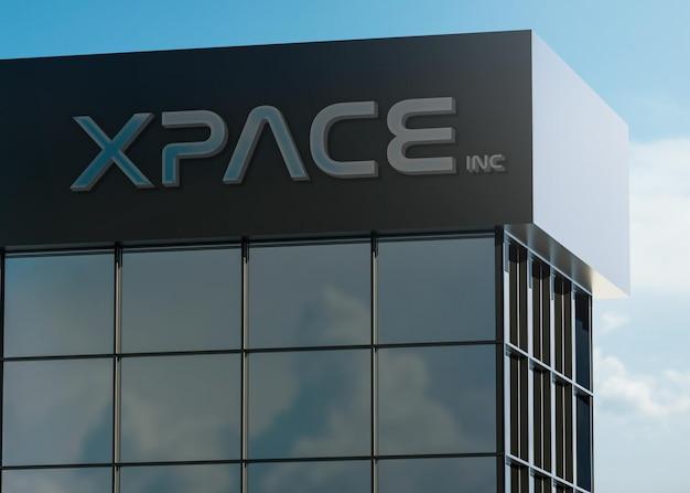 3d logo maquete fachada moderna placa cromada em um prédio