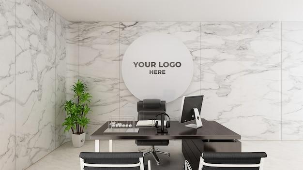 3d logo maquete sinal realista escritório parede branca
